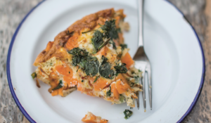 Sweet Potato, Spring Onion, Spinach and Goat's Cheese Frittata