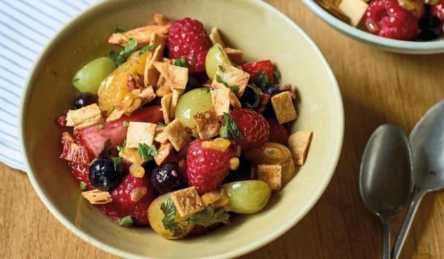nadiya hussain s fruit salad fattoush recipe family favourites bbc