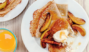 Buckwheat Pancakes with Caramelised Apples and Salted Honey Butter