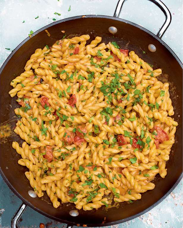 Gemelli with Anchovies, Tomato and Mascarpone