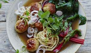 Chicken Bakso with Pickled Shallots from Stirring Slowly