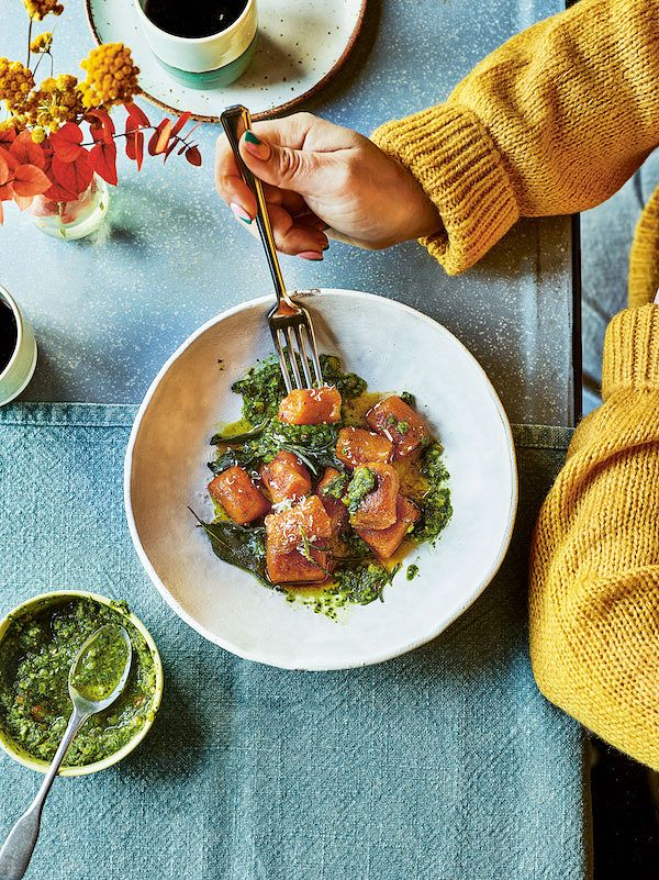 best homemade gnocchi recipes pan fried pumpkin gnocchi with pesto green elly pear