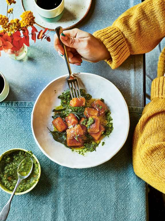 Pan-fried Pumpkin Gnocchi with Brown Herb Butter and Kale and Almond Pesto