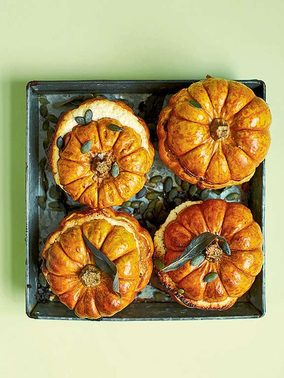 Whole Stuffed Mini Pumpkins with Sage and Goat's Cheese