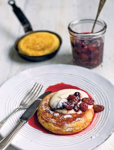 Goats' Curd Pancakes with Pomegranate Molasses Roast Grapes