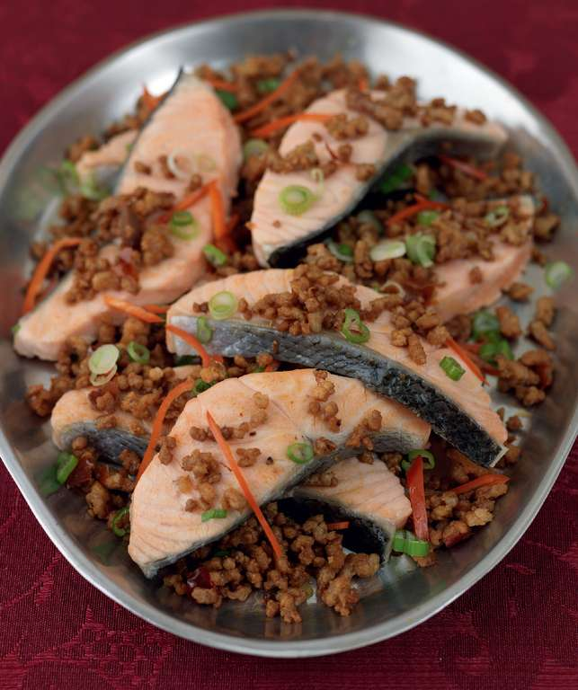 Baked Salmon with Chilli Pork