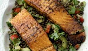 Griddled Indian Salmon with Spiced Lentil Salad