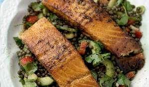 Griddled Indian Salmon with Spiced Lentil Salad