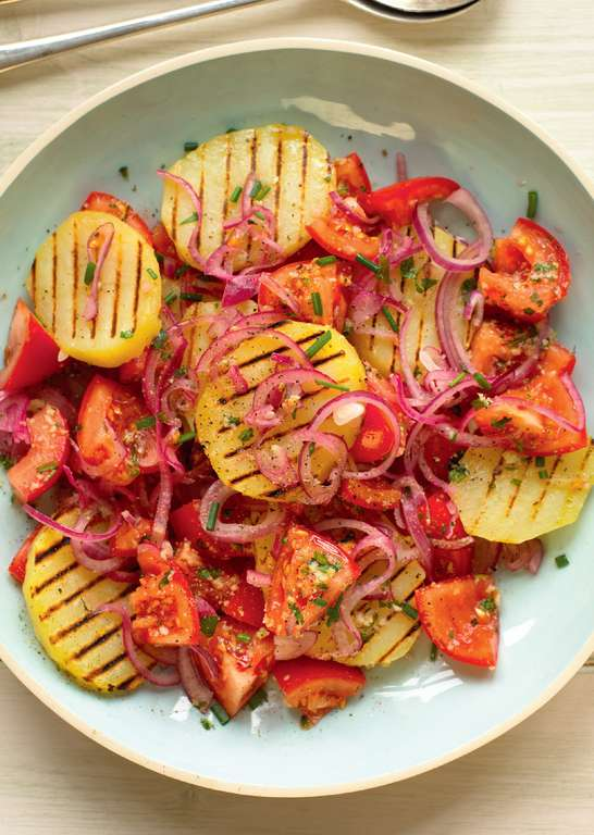 Griddled Potato, Tomato and Red Onion Salad