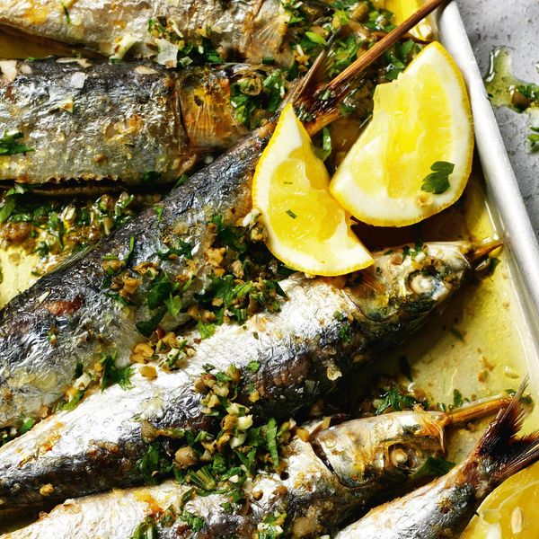 Grilled Sardines With Coarsely Chopped Green Herbs The