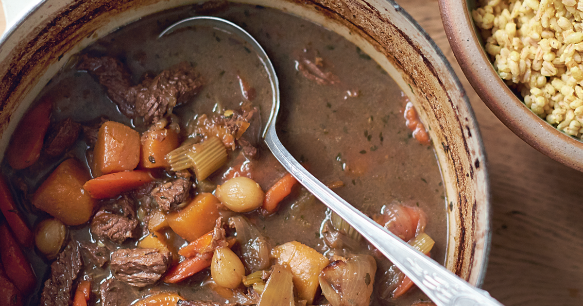 Beef and Guinness Stew with English Mustard and Pearl Barley