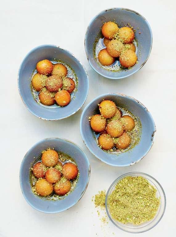 Gulab Jamuns in Saffron Syrup