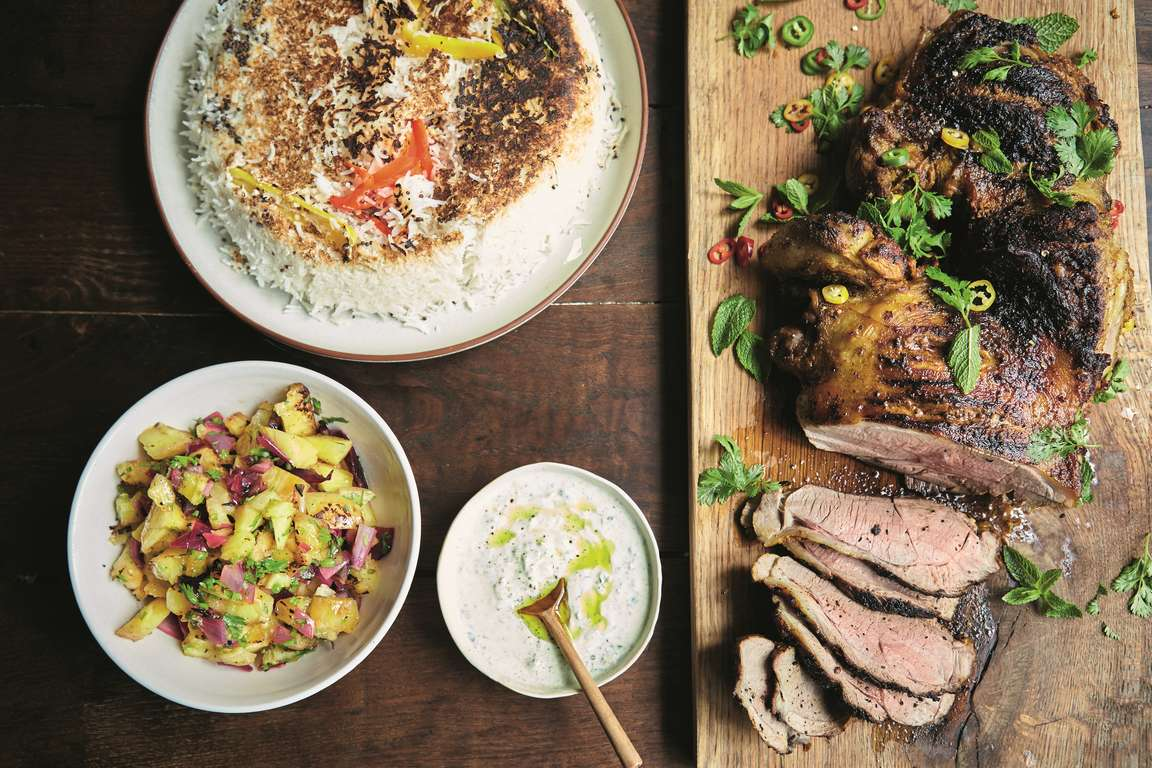 Jamie Oliver's Gunpowder Lamb with Pineapple Salsa, Coconut Rice and a Mint Dressing