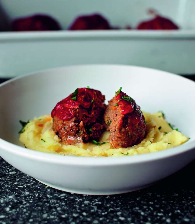 Tomato-glazed meatloaves with Mashed Potatoes