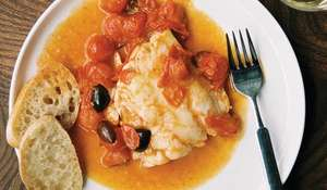 Rosemary and Olive Hake with Cherry Tomatoes