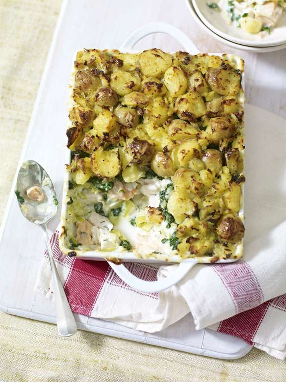 Fish Pie with Crushed Potato Topping