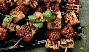 Halloumi and Watermelon Skewers with Tamarind Dip