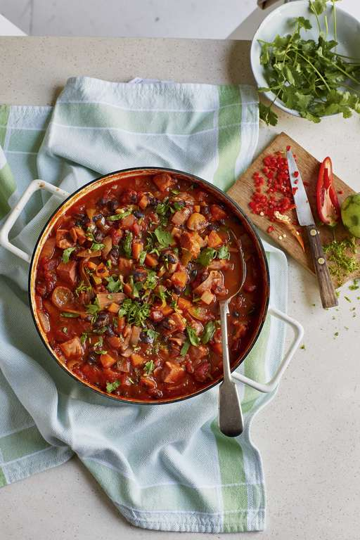 Eat Well for Less Spiced Ham and Black Bean Stew with Rice