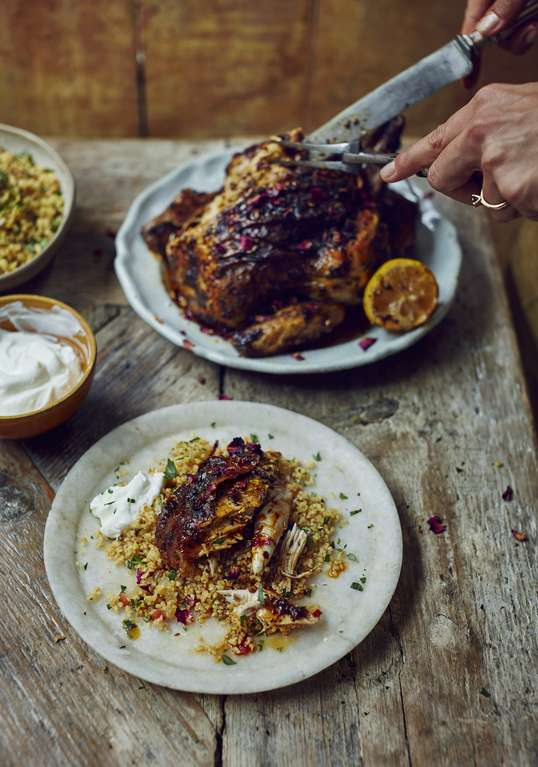 Roast Harissa Butter Chicken and Cracked Wheat