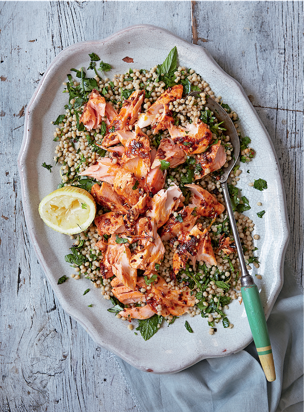 easy couscous salad recipe harissa salmon and giant couscous the great british bake off cookbook