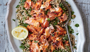 Roast Harissa Salmon With Lemony Giant Couscous from Great British Bake Off: Winter Kitchen