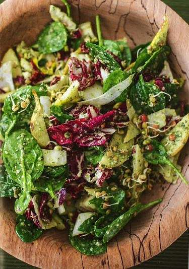 Happy Pear House Salad with Pumpkin Seed and Parsley Pesto