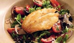 John Dory with Caper, Black Olive and Vine Tomato Salad