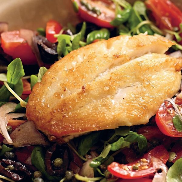 John dory with caper black olive and vine tomato salad for John dory recipe