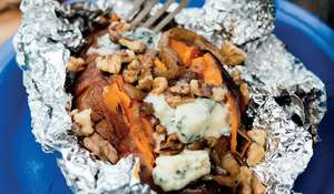 Fire-Baked Sweet Potatoes with Balsamic Onions, Blue Cheese and Walnuts