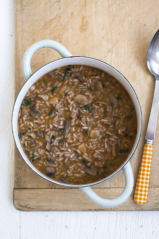 Earthy Red Wine and Mushroom Risotto