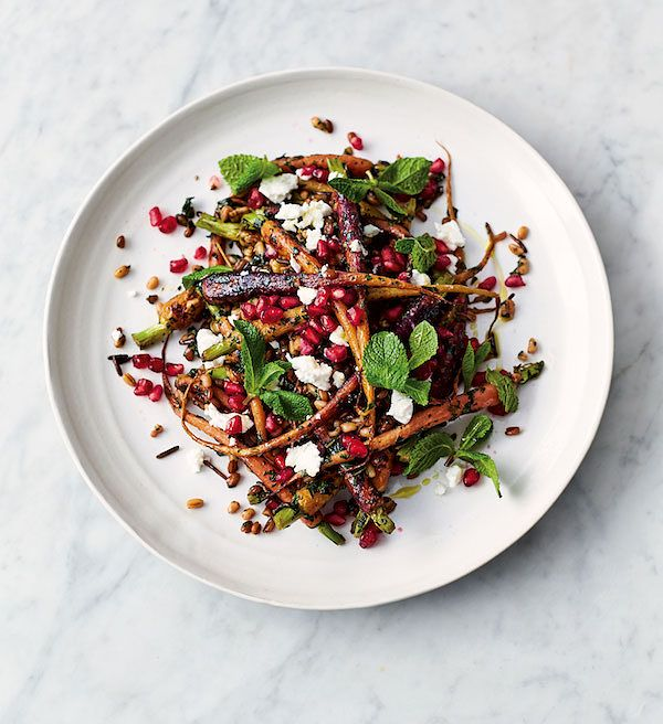 best pomegranate recipes carrot and grain salad jamie oliver