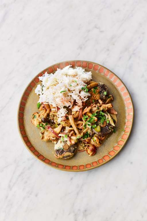 Jamie Oliver's Mushroom Stroganoff with Crunchy Cornichons, Fragrant Capers, Creamy Whisky Sauce and Parsley