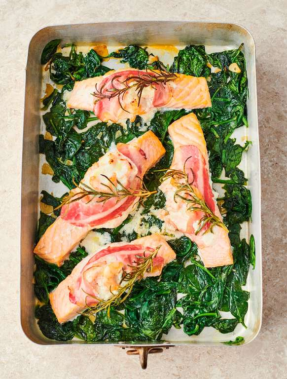Jamie Oliver's Creamy Prawn-Stuffed Salmon with Wilted Garlicky Spinach, Smoky Pancetta, Rosemary and Parmesan