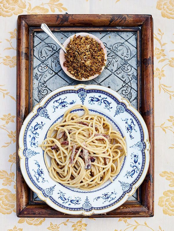 Classic Carbonara with Crunchy Porcini Breadcrumbs from Jamie Cooks Italy by Jamie Oliver