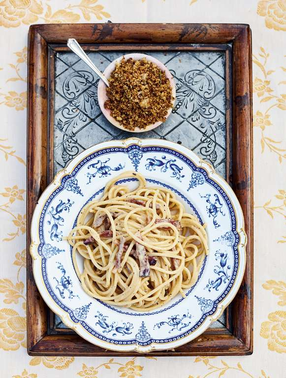 Jamie Oliver's Classic Carbonara with Crunchy Porcini Breadcrumbs