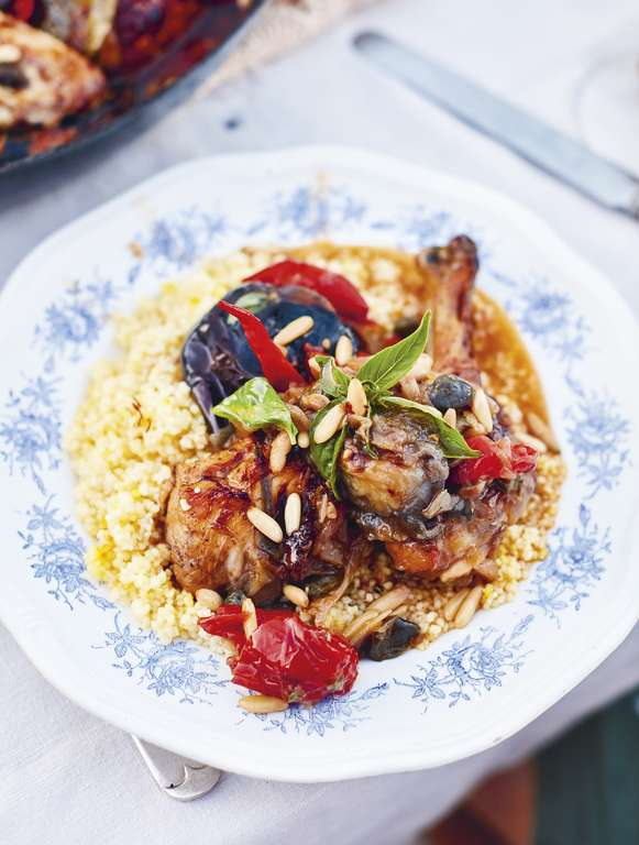 Jamie Oliver's Salina Chicken: Beautiful, scented soft aubergines and tomatoes with capers