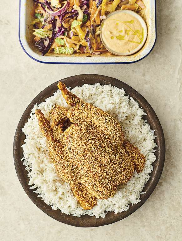 Jamie Oliver's Sesame Chicken with Kimchi and Silken Tofu, Crunchy Veg Slaw and Fluffy Rice
