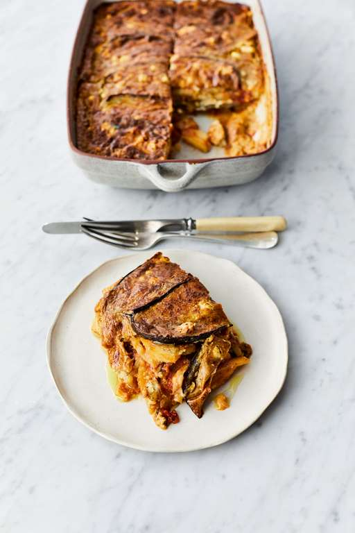 Jamie Oliver's Veggie Moussaka with Sweet Tomato, Grilled Aubergines, Creamy Porcini and Feta Sauce