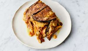 Jamie Oliver's Veggie Moussaka with Porcini and Feta Sauce Recipe