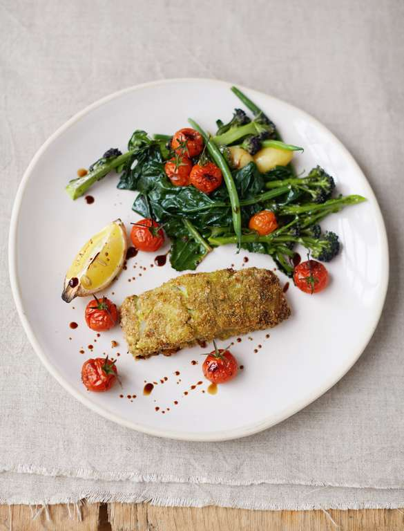 Crumbed Pesto Fish, Roasted Cherry Vines, Spuds and Greens