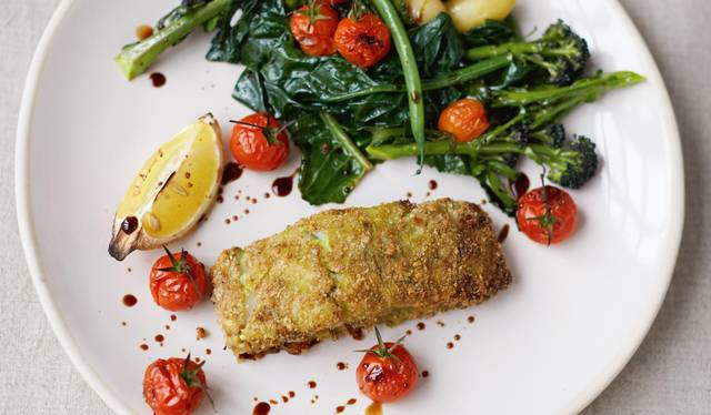 Crumbed Pesto Fish Roasted Cherry Vines Spuds And Greens The Happy Foodie