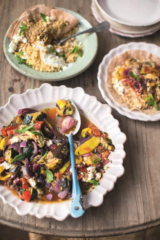 Chopped Charred Veg Salad Couscous, Wraps, Feta, Mint Nuts & Seeds