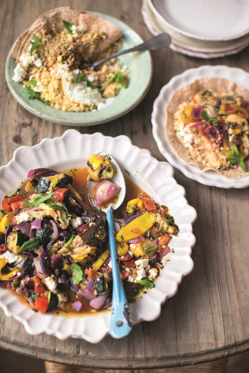 Chopped Charred Veg Salad Couscous, Wraps, Feta, Mint Nuts & Seeds