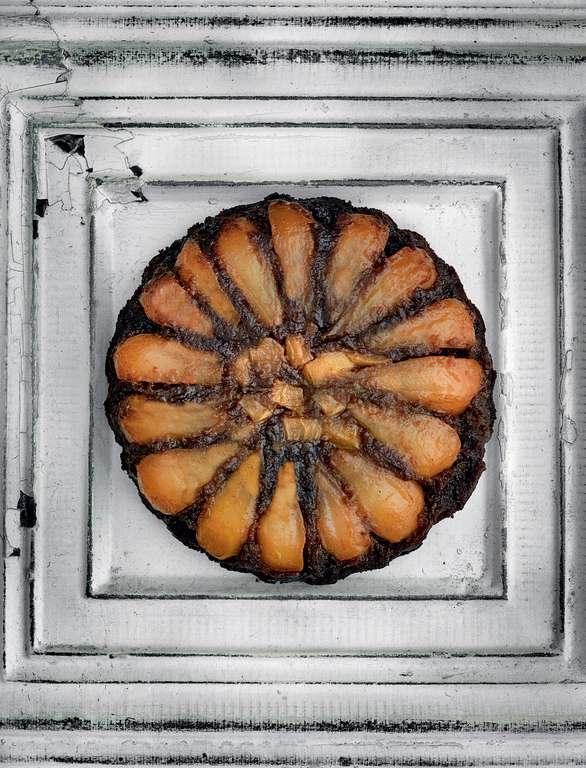 Sunken Pear and Black Gingerbread Cake