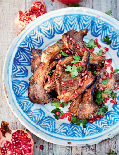 Honey, Chilli and Pomegranate-glazed Lamb Cutlets