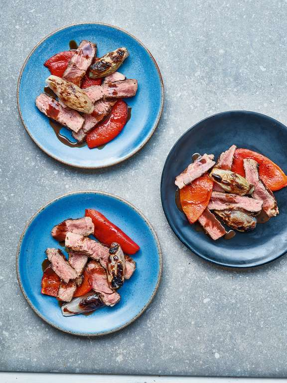 Mary Berry's Marinated Rosemary Lamb Steaks with Red Peppers