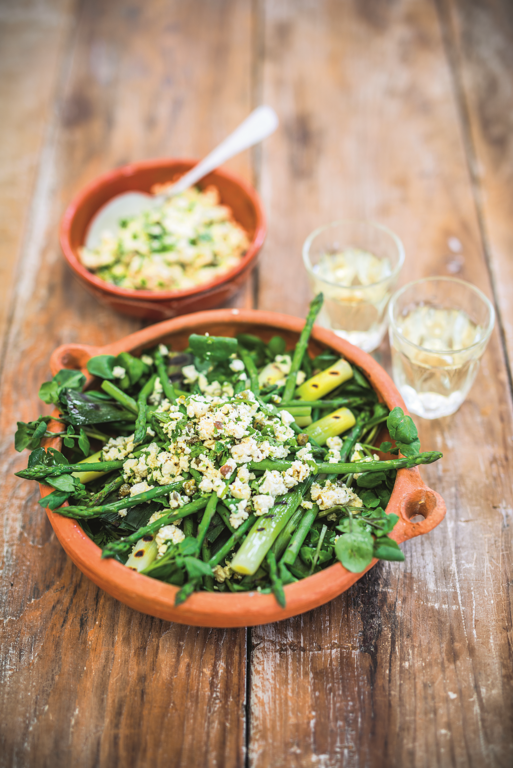 Young Leeks, Watercress & Asparagus with Tofu Gribiche