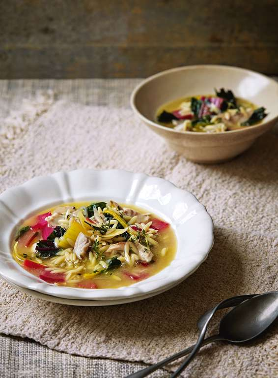 Lemony Chicken Broth with Orzo Pasta and Chard