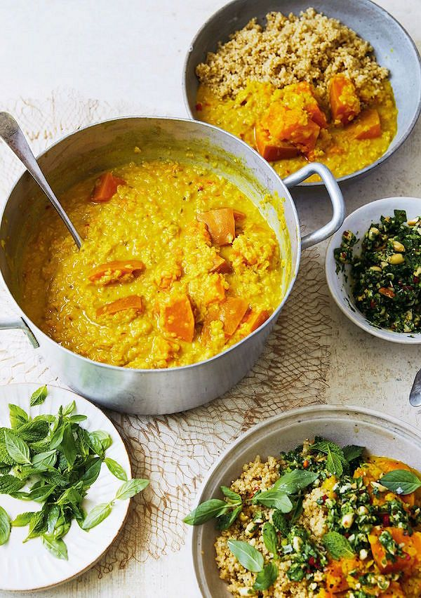 vegan comfort recipes Squash & Lentil Curry with Thai Gremolata fromEat Green by Melissa Hemsley