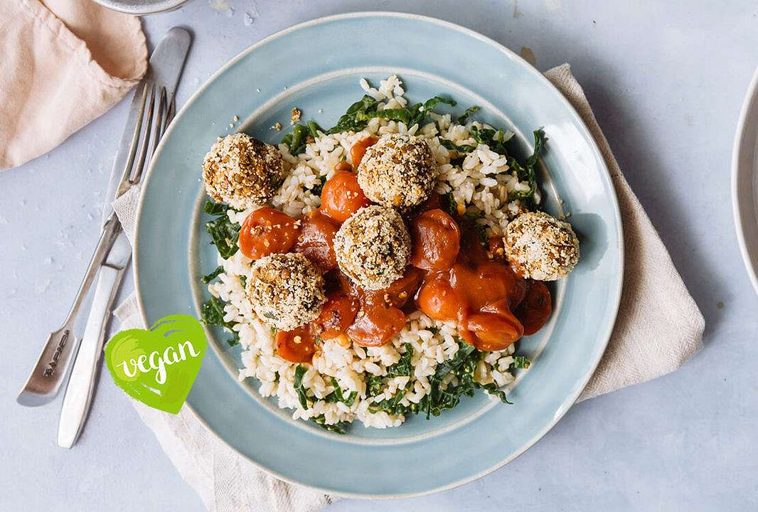 Lentil 'meatballs' with cavolo nero rice